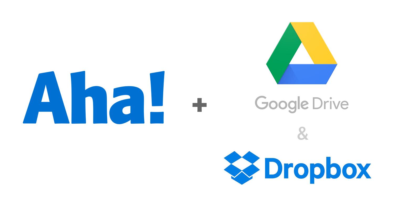 Aha, Google Drive, and Dropbox logos.