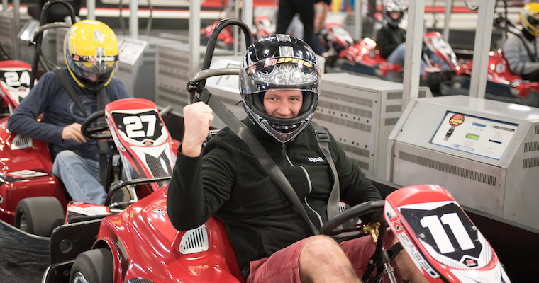 Aha! roadmap software team go-kart race